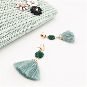 Semi Precious Stone & Tassel Mid Drop Earrings