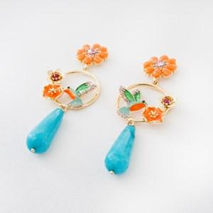 Paradiso Jewel Bird & Stone Teardrop Earrings
