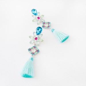 Jewel Flower & Diamond Mix Tassel Earrings