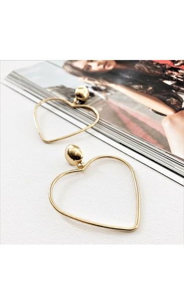 Metal Heart Drop Button Top Earrings