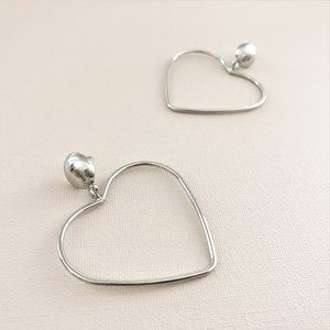 Metal Heart Drop Button Top Earrings