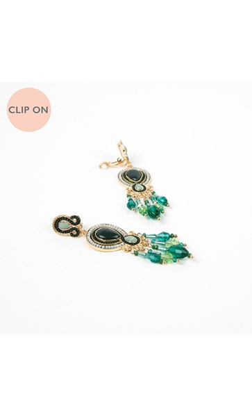 Jewel Almond Mix Crystal Droplets Clip On Earrings