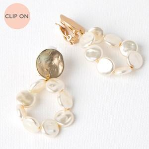 Beaten Metal Button Pearl Hoop Drop Clip On Earrings