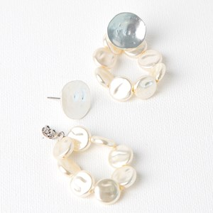 Beaten Metal Button Pearl Hoop Drop Earrings
