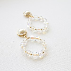Pearl Dome Crystal Cubes Ring Drop Earrings