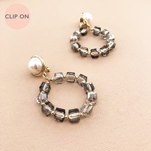 Pearl Dome Crystal Cubes Ring Drop Clip On Earrings