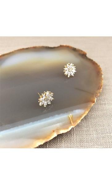 Cubic Zirconia Tiny Flower Stud Earrings