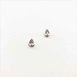 Metal Edge Mini Diamante Teardrop Stud Earrings