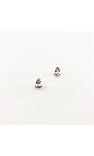Metal Edge Mini Diamante Teardrop Stud Earrings
