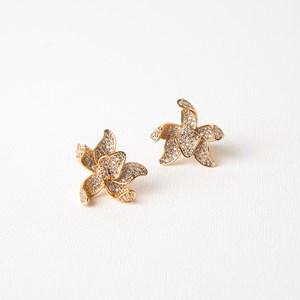 Diamante Encrusted Orchid Stud Earrings