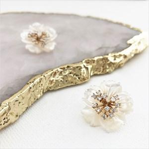 Carved Shell Flower Diamante Centre Earrings