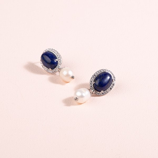 Diamante Edge Stone Oval Pearl Drop Earrings