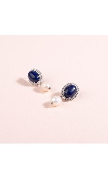 Diamante Edge Stone Oval Pearl Drop Earrings