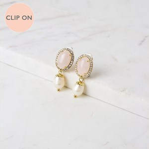 Diamante Edge Stone Oval Pearl Drop Clip On Earrings