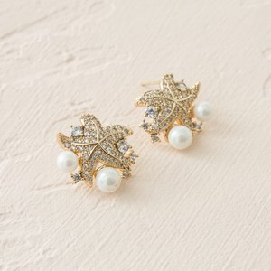 Cubic Zirconia Starfish & Pearl Cluster Earrings