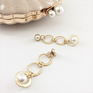 Beaten Metal Links Pearl Detail Earrings