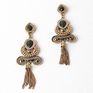 Resin & Bead Swirl Chain Tassel Mid Earrings