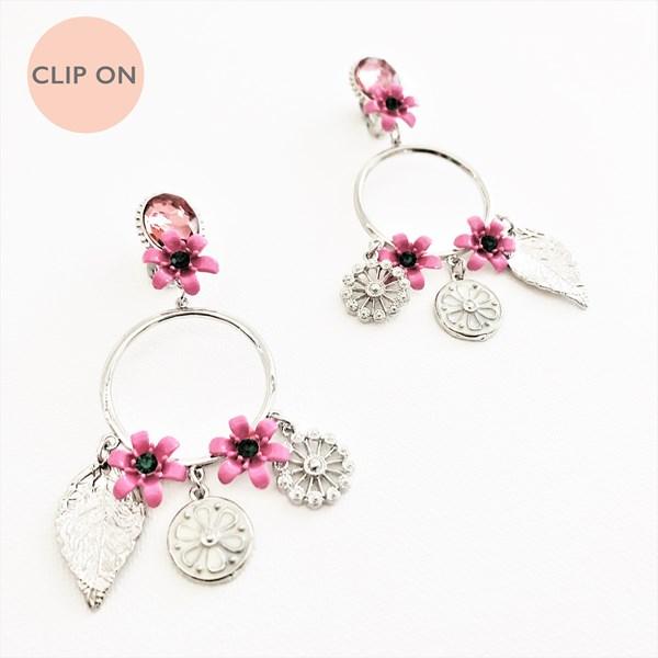 Jewel & Garden Charms Ring Drop Clip On Earrings