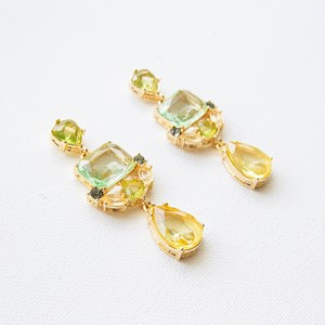 Royals Linked Glass Shapes Mid Drop Earrings