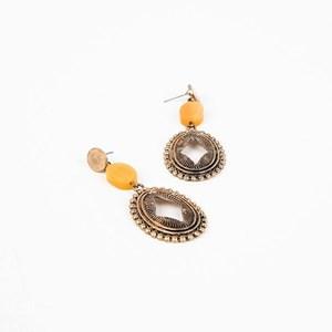 Navaho Oval Drop Resin Mix Earrings