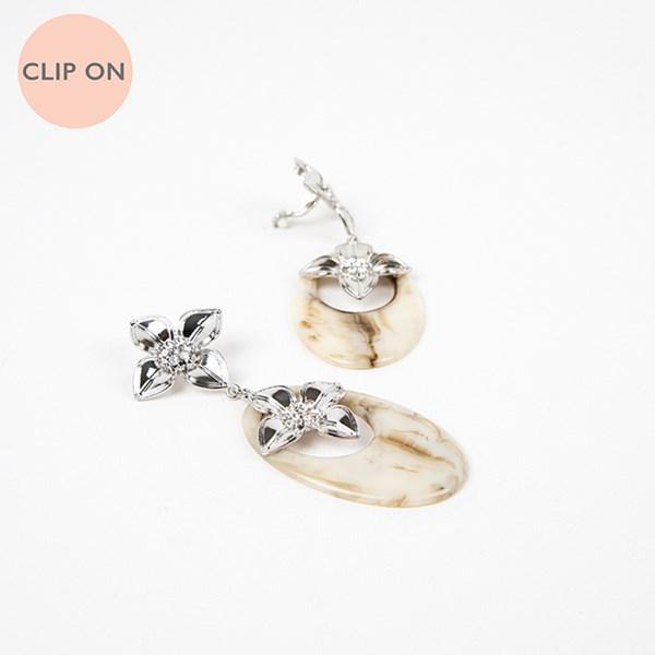 Double Flower Resin Oval Drop Clip On Earrings
