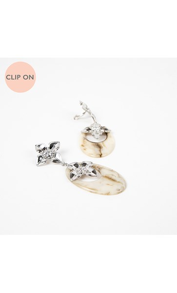 Double Flower Resin Oval Drop Clip On Earrings
