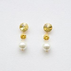 Cubic Zirconia Glass & Pearl Drop Earrings