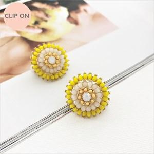 Resin Flower Dome Clip On Earrings