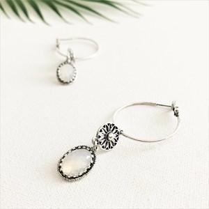 Filigree Sun & Glass Drop Hoop Earrings