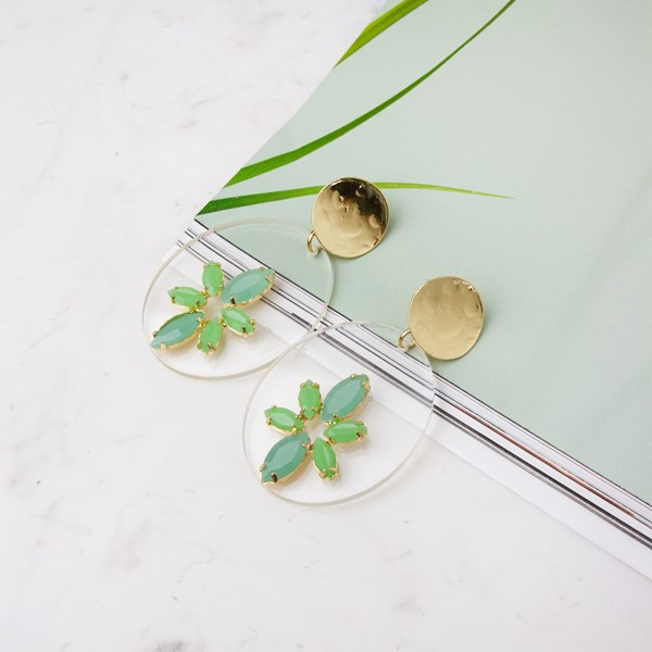 Clear Disc Resin Almonds Statement Earrings