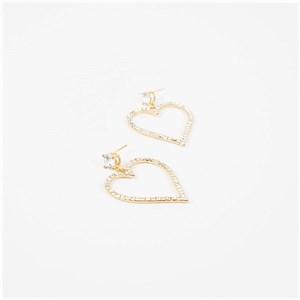 Diamante Heart Drop Jewel Stud Earrings