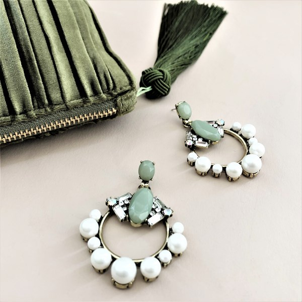 Eclectic Pearl Edge Jewel Mix Earrings