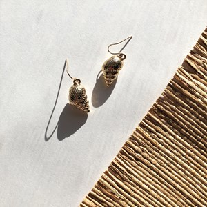 Tiny Shell Charm Hook Earrings