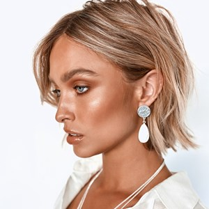 Coin & Stone Drop Stud Earrings
