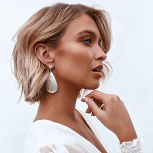 Shell Drop Diamante Stud Earrings