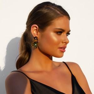 Resin Flower Drop Jewel Centre Earrings