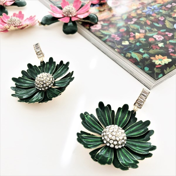 Enamel Flower Diamante Centre Drop Earrings