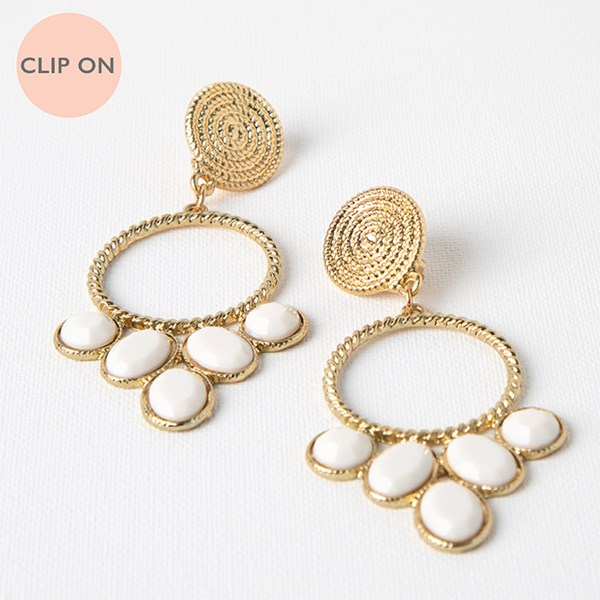 Rope Button & Ring Resin Ovals Clip On Earrings