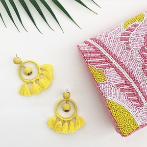Wound Cotton Ball & Ring Tassel Earrings