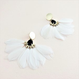 Jewel & Button Top Feather Fan Earrings