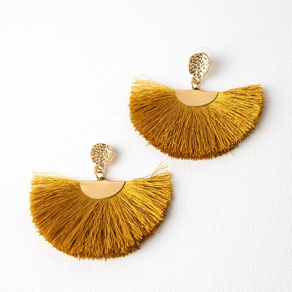 Cotton Fringe Fan Beaten Metal Earrings