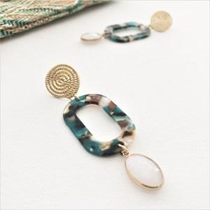 Metal Rope Stud Oval Resin Stone Drop Earrings