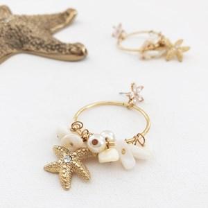 Sea Charms Pearl Cluster Ring Drop Earrings
