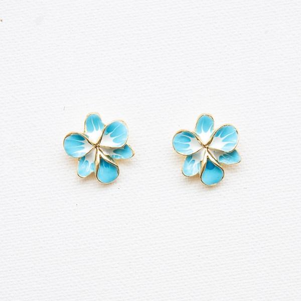 Enamel Orchid Stud Earrings