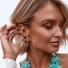 Metal Orchid Stud Earrings - pr_58002