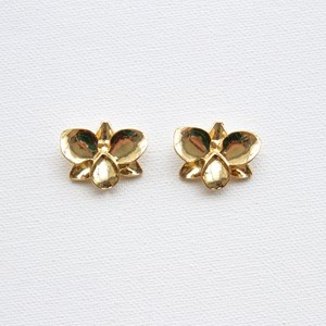 Metal Orchid Stud Earrings