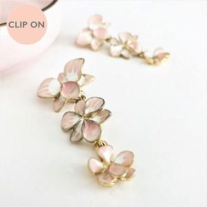 Enamel Orchids Three Drop Clip On Earrings