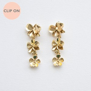 Metal Orchids Three Drop Clip On Earrings