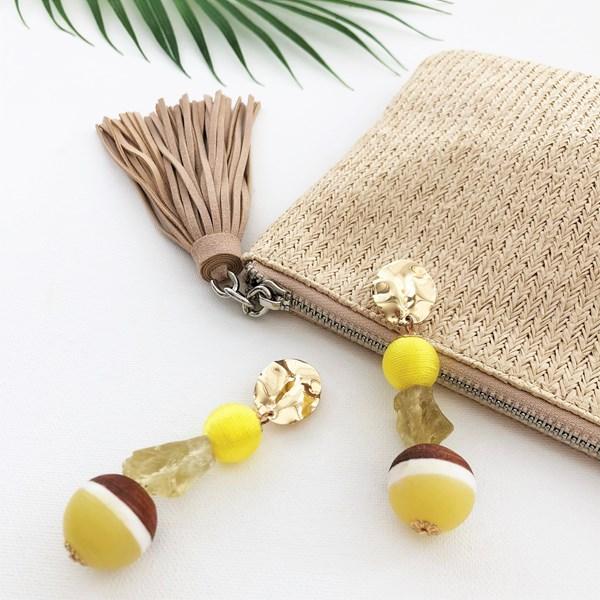 Crafty Quartz & Timber Ball Mix Earrings