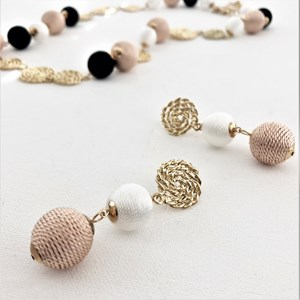 Metal Rope Disc Wound Cotton Balls Drop Earrings